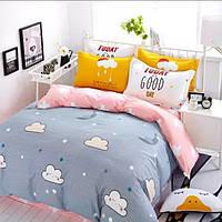 Постельное белье Облака саржа 100% хлопок комплект полуторный кровать 1.2м