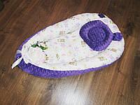Кокон-гнездышко сиреневый с мишками + ортопедическая подушка
