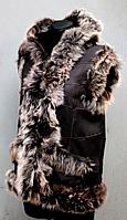 """Женская жилетка с капюшоном """"Nebat"""" овчина и кожа"""