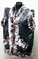 Жилетка женская из овечьей шерсти и натуральной кожи