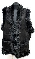 Жилетка из овечьей шерсти и натуральной кожи черная