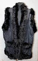 Женская теплая жилетка из натуральной кожи и овчины черная