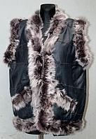 Женская жилетка из кожи и овечьей шерсти синего окраса
