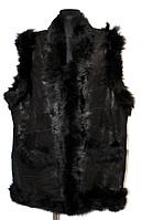 Натуральный теплый женский жилет из кожи и овечьей шерсти - батал
