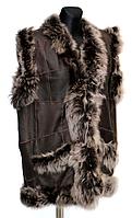 Натуральний теплий жіночий жилет зі шкіри та овчини Nebat