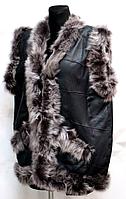 Натуральний теплий жіночий жилет зі шкіри та овечої вовни Nebat - велетень