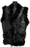 Натуральний теплий жіночий жилет зі шкіри та овечої вовни Nebat