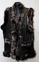 Тепла жилетка жіноча натуральна зі шкіри та овчини
