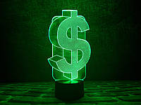 "3Д светильник ""Доллар"" 3DTOYSLAMP, фото 1"