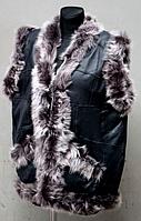 Тепла жіноча натуральна жилетка - сіре опушення