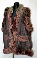 Тепла жіноча натуральна жилетка - коричнева