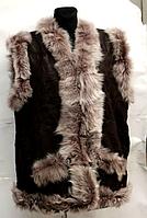 Тепла жіноча натуральна жилетка з шкіри і овечої вовни