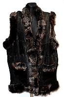 Жіноча натуральна жилетка з овечої вовни і шкіри (різні кольори)