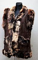 Жіночий натуральний жилет з овечої вовни і шкіри