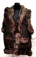 Жіноча натуральна жилетка з овечої вовни і шкіри (коричнева)