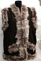 Жіноча натуральна жилетка з овечої вовни і шкіри