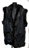 Жіноча натуральна жилетка з овечої вовни і шкіри (чорна)