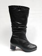 3efb16ee3 Кожаные черные зимние сапоги с широким голенищем. Большие размеры (38 - 42  ).