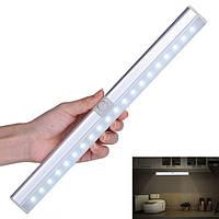 Портативный 20 LED USB аккумуляторная лампа Датчик & PIR Mtion Шкаф для шкафа для кухонной лестницы