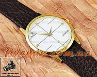 Мужские наручные часы Rolex Tungsten Gold White с календарем кварцевыя кожа Япония
