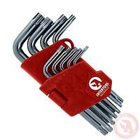 Набор Г-образных ключей TORX с отверстием 9 шт., Т10-Т50, Cr-V, Small INTERTOOL