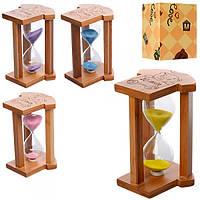 Деревянная игрушка Песочные часы MD 1117 14см, 10мин, микс цветов,в кор-ке, 10,5-10,5-15см