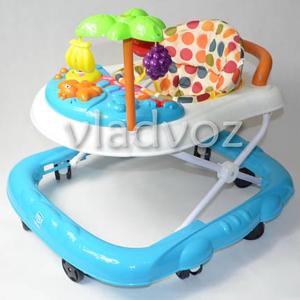 Детские ходунки музыкальная панель тормоз голубые Bamby с пальмой звуки животных, фото 2