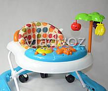 Детские ходунки музыкальная панель тормоз голубые Bamby с пальмой звуки животных, фото 3
