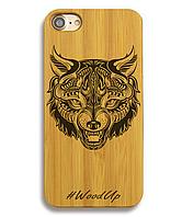 Деревянный чехол на Iphone 6 plus с лазерной гравировкой Fox-1