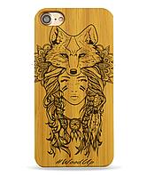 Деревянный чехол на Iphone 6 plus с лазерной гравировкой Fox-2