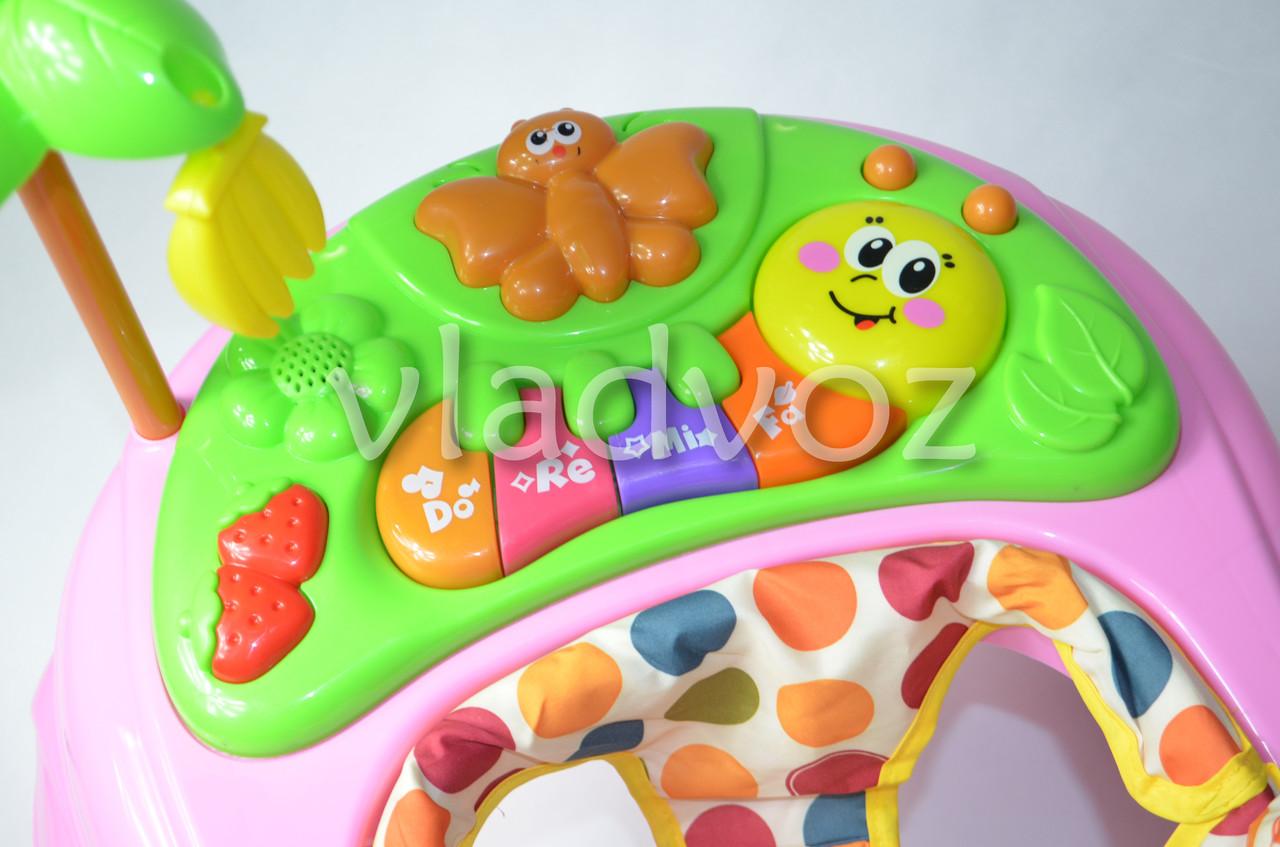 Фото детских ходунков с музыкальной панелью тормоз голубые Bamby звуки животных