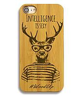Деревянный чехол на Iphone 6 plus с лазерной гравировкой Intelligence is Sexy