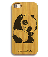 Деревянный чехол на Iphone 6 plus с лазерной гравировкой Панда