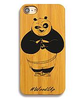 Деревянный чехол на Iphone 6 plus с лазерной гравировкой Panda Kung Fu