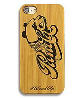 Деревянный чехол на Iphone 6 plus с лазерной гравировкой Panda