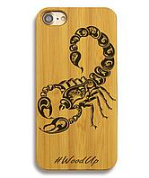 Деревянный чехол на Iphone 6 plus с лазерной гравировкой Скорпион