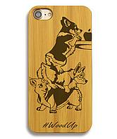 Деревянный чехол на Iphone 6 plus с лазерной гравировкой Собаки
