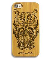 Деревянный чехол на Iphone 6 plus с лазерной гравировкой Сова-2