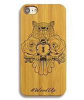 Деревянный чехол на Iphone 6 plus с лазерной гравировкой Сова-4