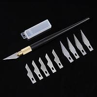 Металлическая ручка хобби резак нож ремесла с 10шт лезвиями Режущий инструмент