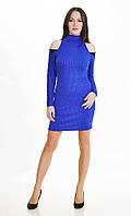 Женское платье с открытыми плечами Люрекс