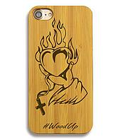Деревянный чехол на Iphone 6 plus с лазерной гравировкой Сердце-2