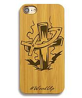 Деревянный чехол на Iphone 6 plus с лазерной гравировкой Крест-2