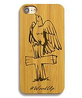 Деревянный чехол на Iphone 6 plus с лазерной гравировкой Крест-3