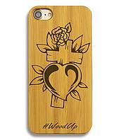 Деревянный чехол на Iphone 6 plus с лазерной гравировкой Крест-4