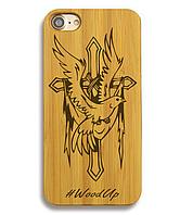 Деревянный чехол на Iphone 6 plus с лазерной гравировкой Крест-6