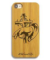 Деревянный чехол на Iphone 6 plus с лазерной гравировкой Крест-7