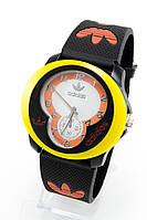 Мужские спортивные наручные часы Adidas черные+желтые