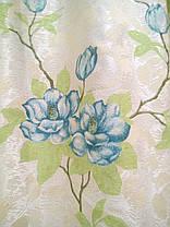 """Комплект штор """"Изабель"""", голубой цветок, фото 3"""