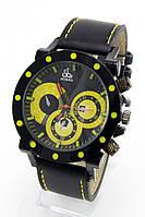 Мужские наручные часы Jacob&Co черные+желтые (Копия)